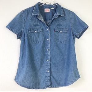 Levi's Women's Western Denim Embroidered Palm Tree Pearl Snap Button Up Shirt L